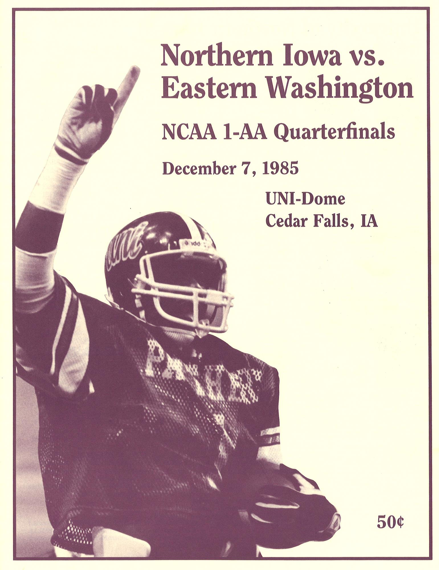 Moses on cover of FCS first round playoff game, 1985