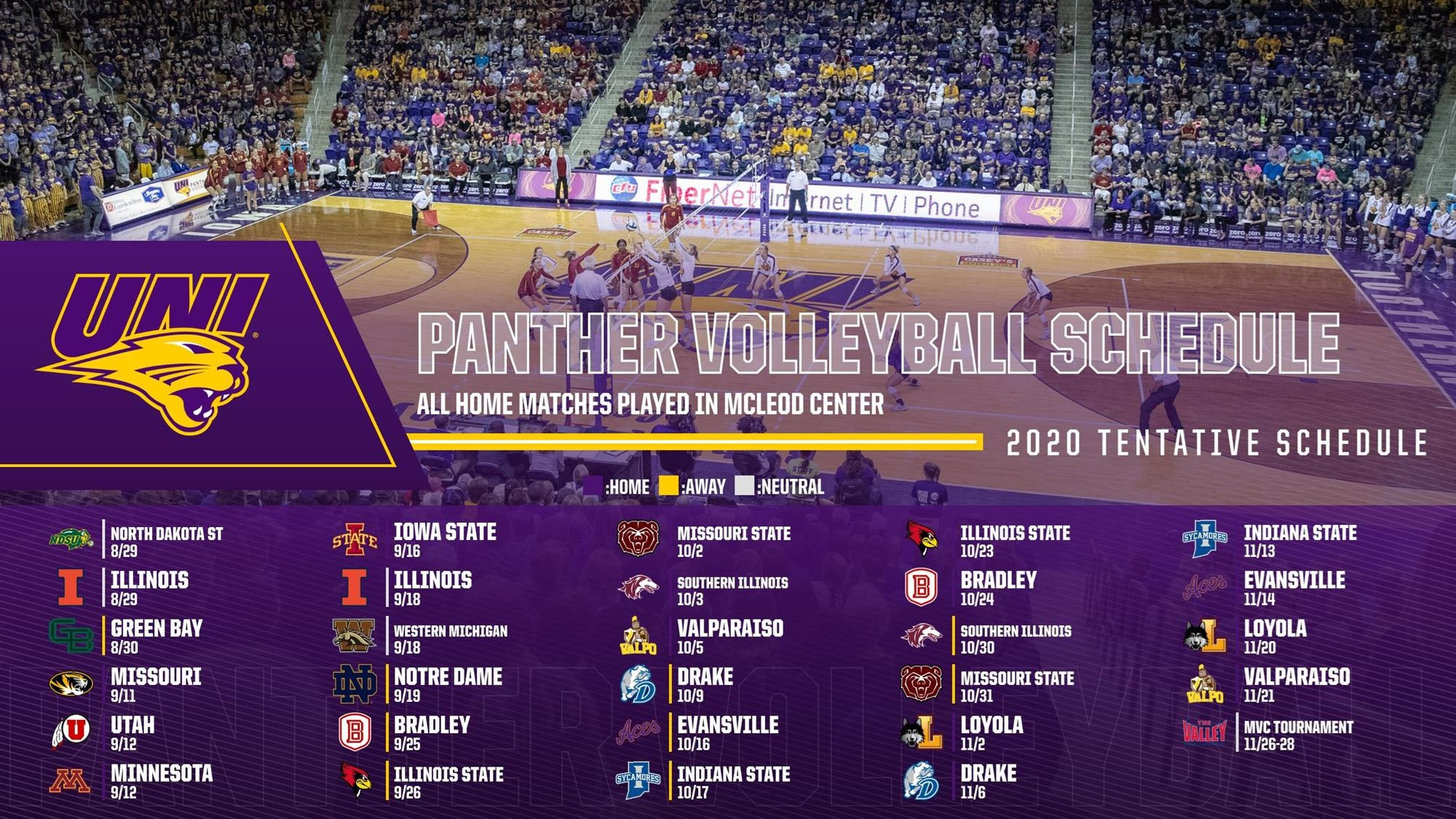 Panther Volleyball Releases Fall Schedule Uni Athletics